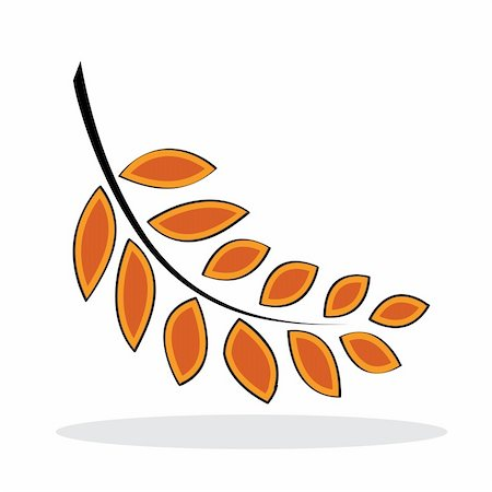 Orange leaf with grey shadow. Autumnal icon. Vector illustration Stock Photo - Budget Royalty-Free & Subscription, Code: 400-05256623
