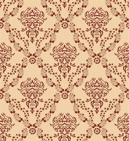 Damask seamless vector pattern.  For easy making seamless pattern just drag all group into swatches bar, and use it for filling any contours. Stock Photo - Budget Royalty-Free & Subscription, Code: 400-05257343