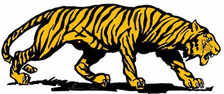 Vector abstract illustration. The orange predatory tiger. Stock Photo - Budget Royalty-Free & Subscription, Code: 400-05250518