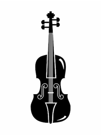 silhouette musical symbols - violin silhouette vector isolated on white background Stock Photo - Budget Royalty-Free & Subscription, Code: 400-05251851