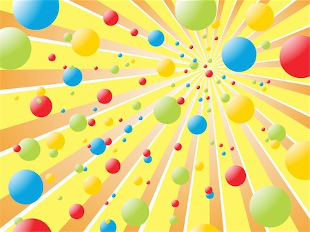 fireworks with yellow and green background - vector eps illustration of colorful balls on yellow rays Stock Photo - Budget Royalty-Free & Subscription, Code: 400-05253047