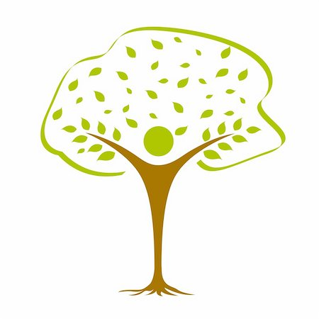 illustration of vector icon with tree against white background Stock Photo - Budget Royalty-Free & Subscription, Code: 400-05253632