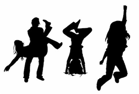 vector silhouette dancing girl isolated on white background Stock Photo - Budget Royalty-Free & Subscription, Code: 400-05253645