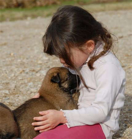 dog kissing girl - a little girl kissing her baby purebred belgian shepherd Stock Photo - Budget Royalty-Free & Subscription, Code: 400-05266423