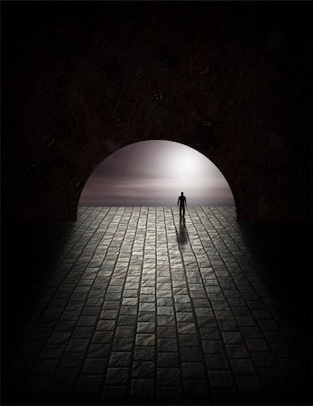 rolffimages (artist) - Mystery Man in Tunnel Stock Photo - Budget Royalty-Free & Subscription, Code: 400-05266459
