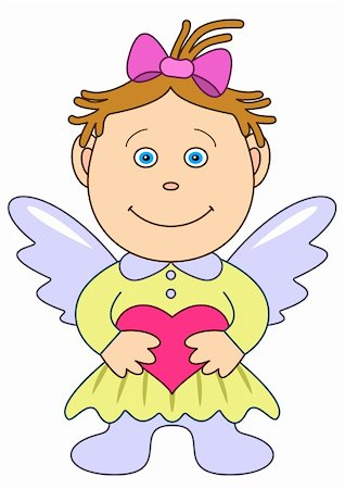 flying heart girl - Picture by a holiday: the girl-angel with wings, holds in hands red heart, symbol a love and friendship Stock Photo - Budget Royalty-Free & Subscription, Code: 400-05267340