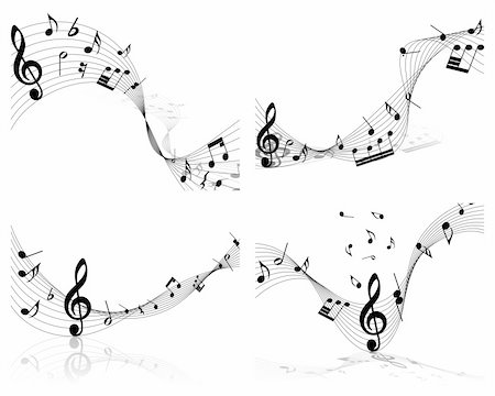 Vector musical notes staff background for design use Stock Photo - Budget Royalty-Free & Subscription, Code: 400-05267954