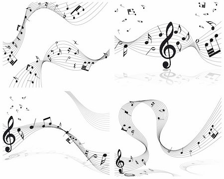 simsearch:400-04676325,k - Vector musical notes staff background for design use Stock Photo - Budget Royalty-Free & Subscription, Code: 400-05267953