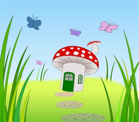 A toadstool with door window and chimney. Stock Photo - Budget Royalty-Free & Subscription, Code: 400-05268061