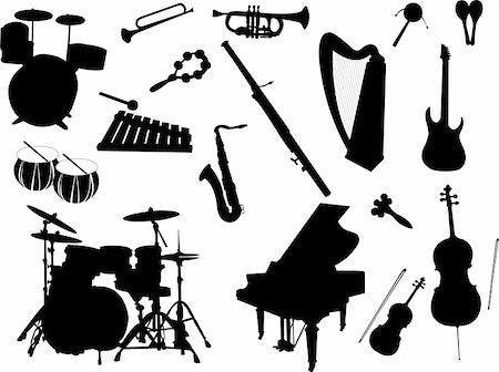 silhouette musical symbols - musical instruments - vector Stock Photo - Budget Royalty-Free & Subscription, Code: 400-05268828