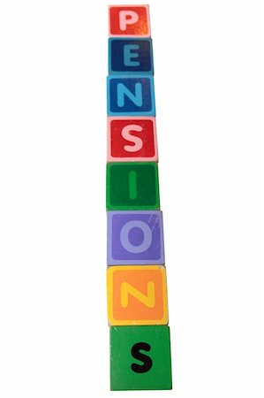 education loan - toy letters that spell pensions against a white background with clipping path Stock Photo - Budget Royalty-Free & Subscription, Code: 400-05269515