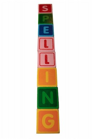 toy letters that spell spelling against a white background with clipping path Stock Photo - Budget Royalty-Free & Subscription, Code: 400-05269518