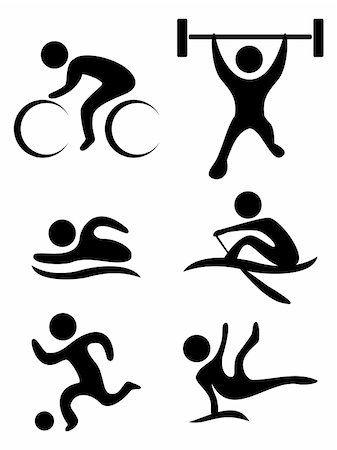 sgame - vector sports symbols: bicycle, weightlifting, swimming, soccer ball,gymnastics, rowing Stock Photo - Budget Royalty-Free & Subscription, Code: 400-05260059