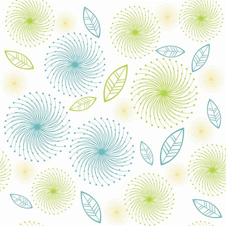 simsearch:400-04744132,k - Retro flowers and leaves pattern Stock Photo - Budget Royalty-Free & Subscription, Code: 400-05260944