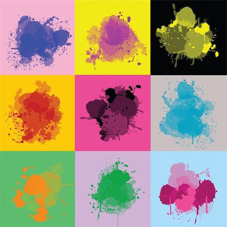dripping splat - Sert of colorful splash Stock Photo - Budget Royalty-Free & Subscription, Code: 400-05260976