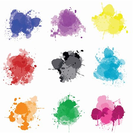 spot paint - Set of colored splashes Stock Photo - Budget Royalty-Free & Subscription, Code: 400-05260977