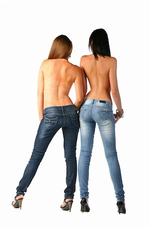 sexy brunette and blonde in jeans isolated on white background Stock Photo - Budget Royalty-Free & Subscription, Code: 400-05263057