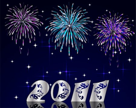 simsearch:400-04863783,k - Vector new year 2011 numbers with fireworks Stock Photo - Budget Royalty-Free & Subscription, Code: 400-05263557