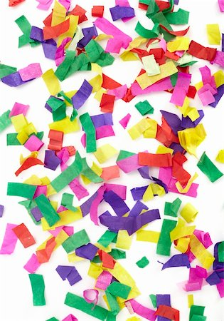 party celebration paper confetti - close up of confetti on white background Stock Photo - Budget Royalty-Free & Subscription, Code: 400-05274191