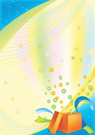 fireworks with yellow and green background - festive background with an open gift card Stock Photo - Budget Royalty-Free & Subscription, Code: 400-05277014