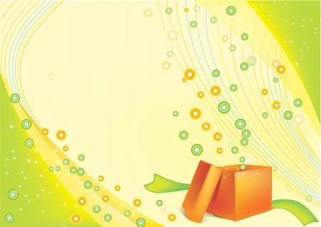 fireworks with yellow and green background - festive background with an open gift card Stock Photo - Budget Royalty-Free & Subscription, Code: 400-05277033