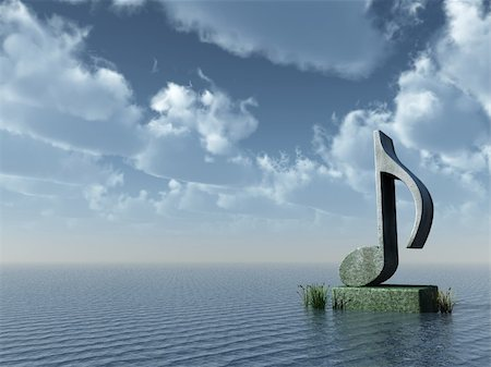 musical note monument at the ocean - 3d illustration Stock Photo - Budget Royalty-Free & Subscription, Code: 400-05277781