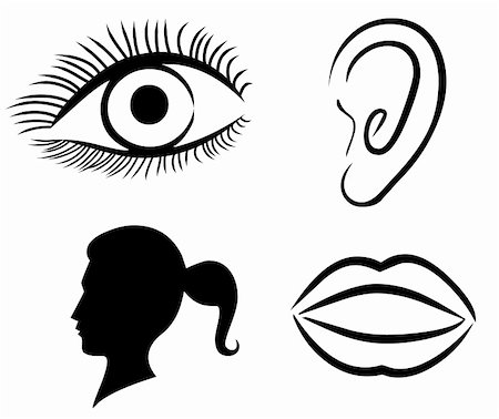 pretty in black clipart - Female Face Illustration: Eyes Nose Lips and Ear Stock Photo - Budget Royalty-Free & Subscription, Code: 400-05278807