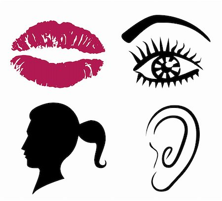 pretty in black clipart - Female Face Illustration: Eyes Nose Lips and Ear Stock Photo - Budget Royalty-Free & Subscription, Code: 400-05278808