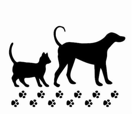 Vector illustration - pet: dog and cat on white background Stock Photo - Budget Royalty-Free & Subscription, Code: 400-05279283