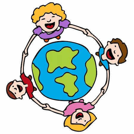 An image of a children holding hands around the Earth. Stock Photo - Budget Royalty-Free & Subscription, Code: 400-05279560