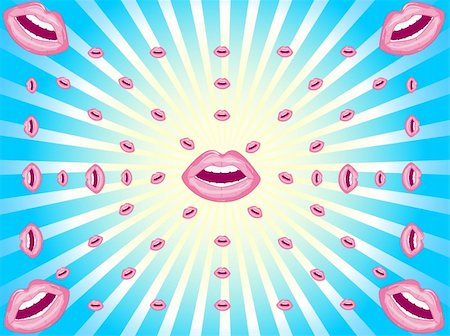 Abstract vector background consisting of sunlight and spread of female lips Stock Photo - Budget Royalty-Free & Subscription, Code: 400-05279995