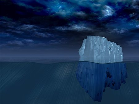 Iceberg at night Stock Photo - Budget Royalty-Free & Subscription, Code: 400-05271779