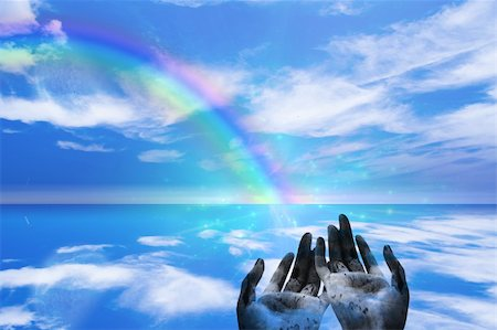 Rainbow ends in Hands Stock Photo - Budget Royalty-Free & Subscription, Code: 400-05271784