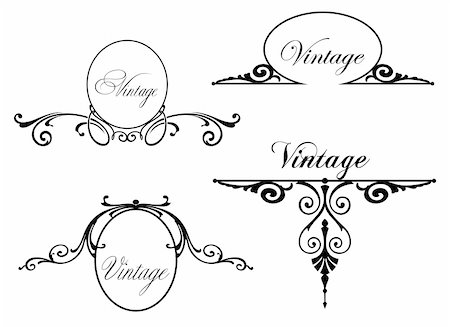 funky flower designs - Set different vintage design elements. Vector illustration Stock Photo - Budget Royalty-Free & Subscription, Code: 400-05272723
