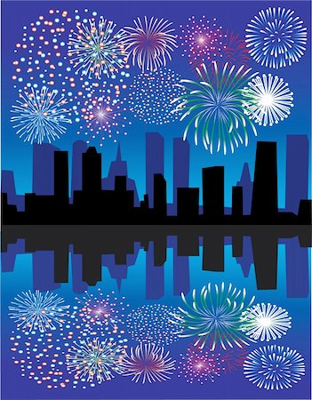 simsearch:400-04863783,k - vector fireworks over city with reflection Stock Photo - Budget Royalty-Free & Subscription, Code: 400-05273805