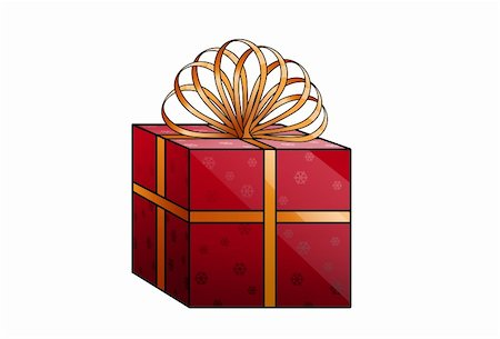 simsearch:400-04369855,k - New Year's gift in red wrapping with a gold bow Stock Photo - Budget Royalty-Free & Subscription, Code: 400-05284123