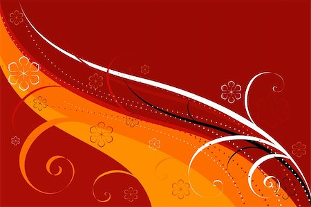 simsearch:400-04290504,k - Abstract background of red-orange colour with curls and flowers Stock Photo - Budget Royalty-Free & Subscription, Code: 400-05284520