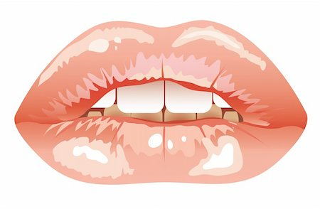 sexual parted lips painted pink lipstick. Illustration Stock Photo - Budget Royalty-Free & Subscription, Code: 400-05284535