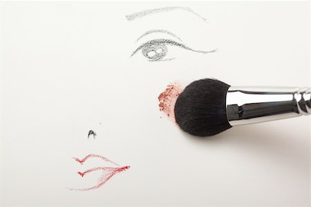 a make-up sketch, drawn on white paper, with a blush brush applying pink powder blush to the cheek Stock Photo - Budget Royalty-Free & Subscription, Code: 400-05284771