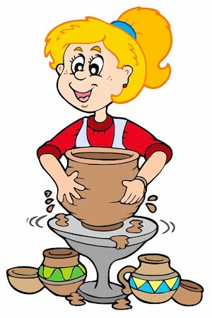 Cartoon pottery girl - vector illustration. Stock Photo - Budget Royalty-Free & Subscription, Code: 400-05286197