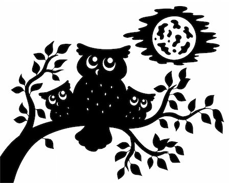 Silhouette of three owls on branch - vector illustration. Stock Photo - Budget Royalty-Free & Subscription, Code: 400-05286206