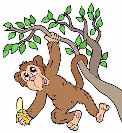 Monkey with banana on tree - vector illustration. Stock Photo - Budget Royalty-Free & Subscription, Code: 400-05286203