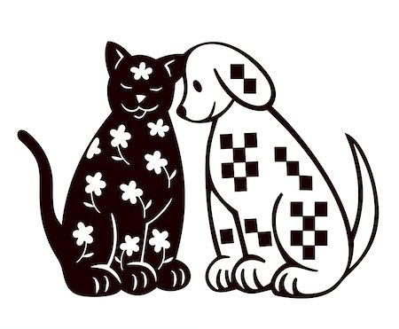 Seated black silhouettes of cat and dog Stock Photo - Budget Royalty-Free & Subscription, Code: 400-05287008