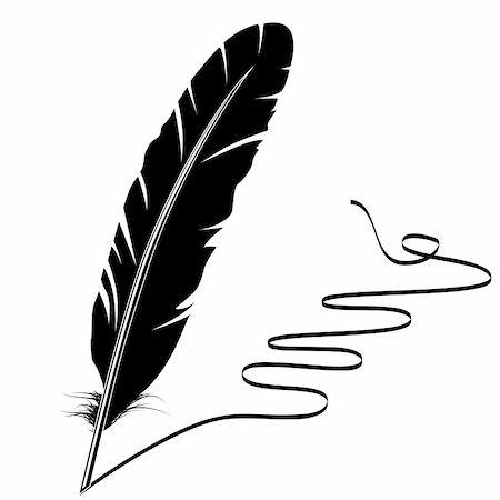 Vector mohochrome writing old feather and flourish Stock Photo - Budget Royalty-Free & Subscription, Code: 400-05287380