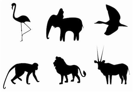 Vector picture of silhouettes of animals of Africa Stock Photo - Budget Royalty-Free & Subscription, Code: 400-05287438