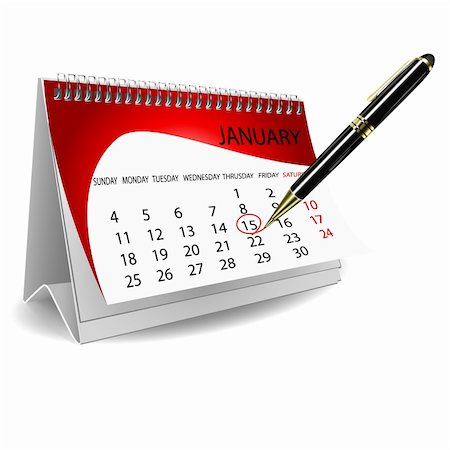 illustration of calender with pen on white background Stock Photo - Budget Royalty-Free & Subscription, Code: 400-05289111