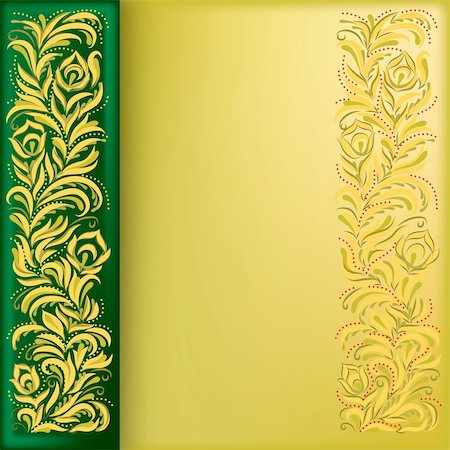 abstract background with golden floral ornament on green Stock Photo - Budget Royalty-Free & Subscription, Code: 400-05282538