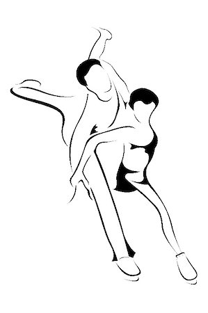 illustration of line art skating couple Stock Photo - Budget Royalty-Free & Subscription, Code: 400-05283506