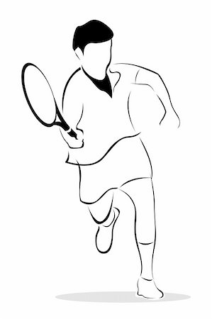 illustration of sketch of tennis player on isolated background Stock Photo - Budget Royalty-Free & Subscription, Code: 400-05283576