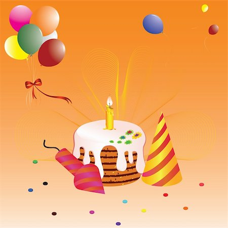 Birthday greeting card with a cake and balloons. Stock Photo - Budget Royalty-Free & Subscription, Code: 400-05283808